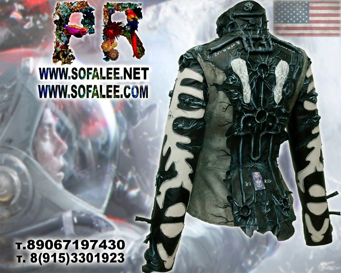 киберпанк черно белая кожаная куртка 01