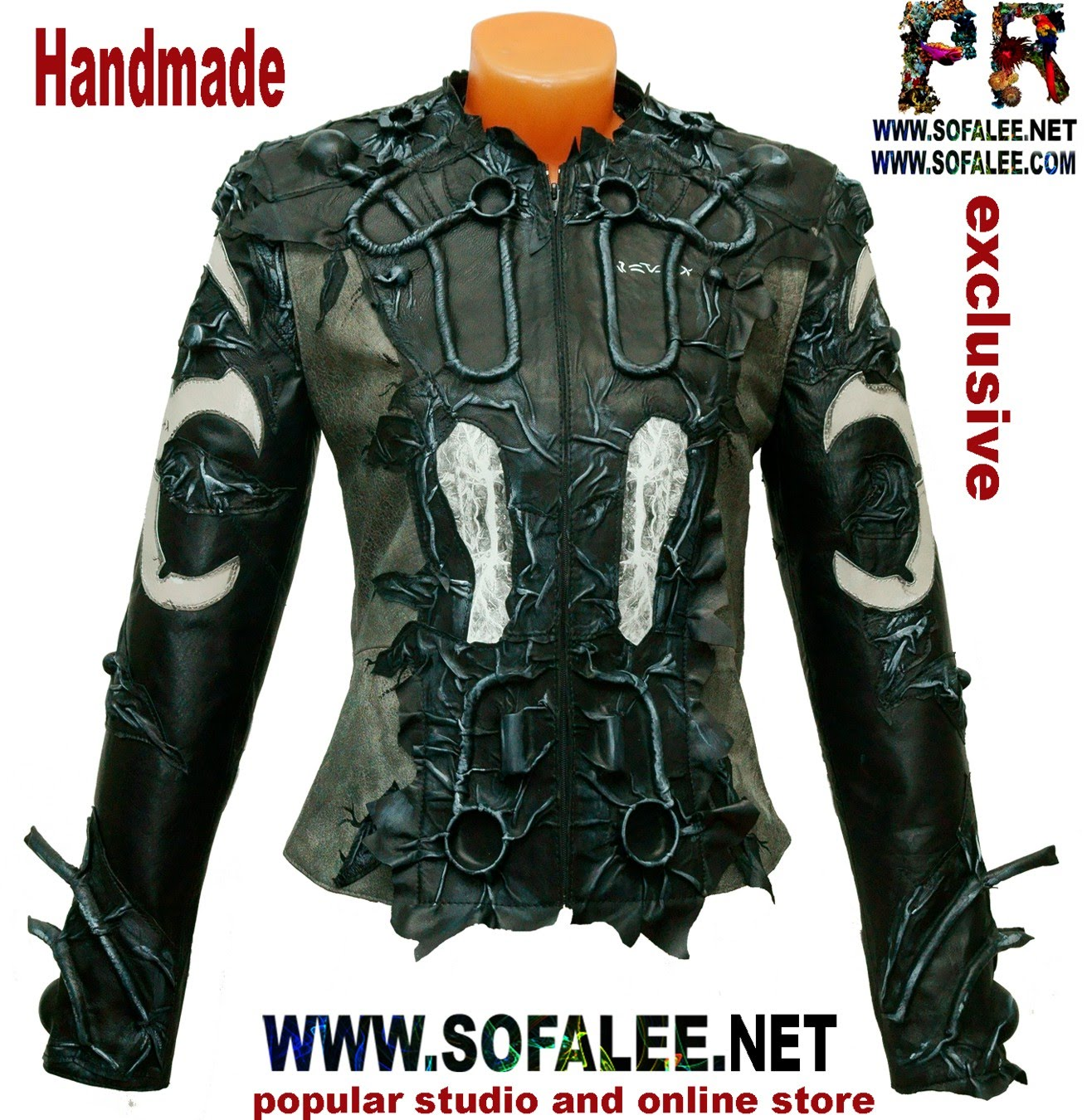 киберпанк черно белая кожаная куртка 02