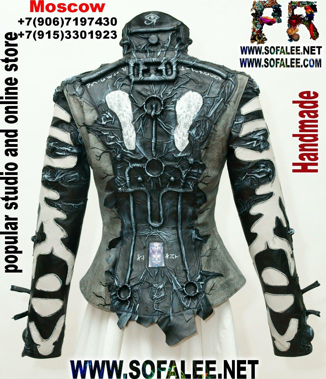 киберпанк черно белая кожаная куртка 03