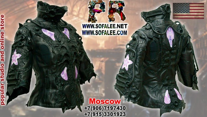 "№211 Short genuine leather jacket black purple ""Mizar-C4"""