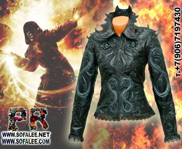 "№208 Black jacket of genuine leather ""Cersei"""