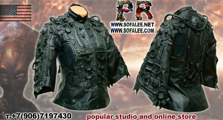 "№212 Black genuine leather jacket, bracelets, collar for women ""Mizar-2020"""