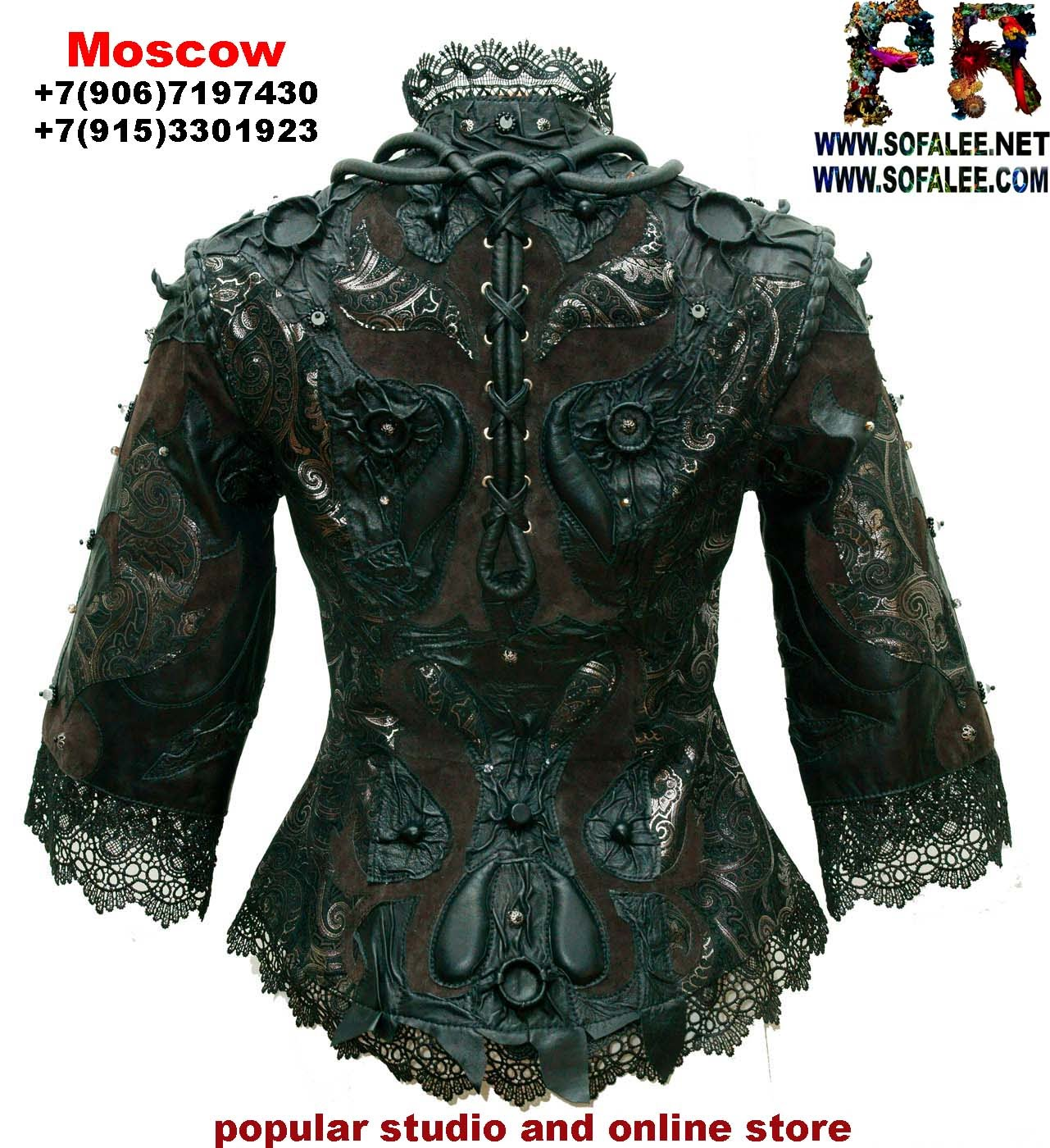 эксклюзивная куртка из кожи с кружевами