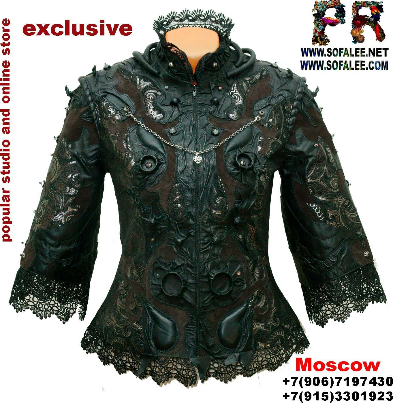эксклюзивная куртка из кожи с кружевам0001
