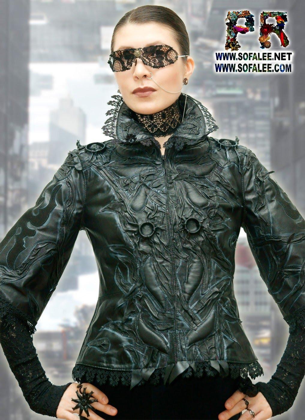 женская кожаная черная куртка 0