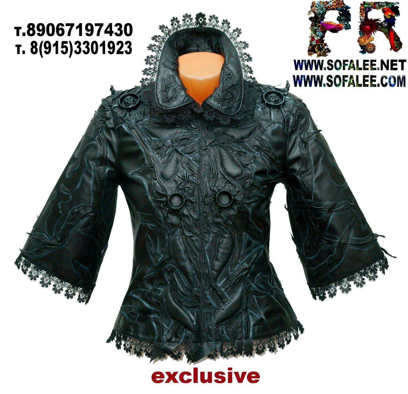 женская кожаная черная куртка 04