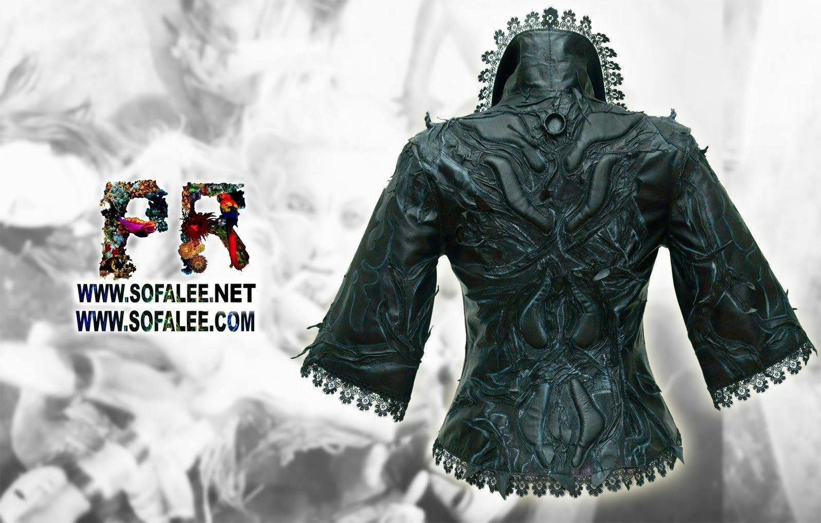 женская кожаная черная куртка 05