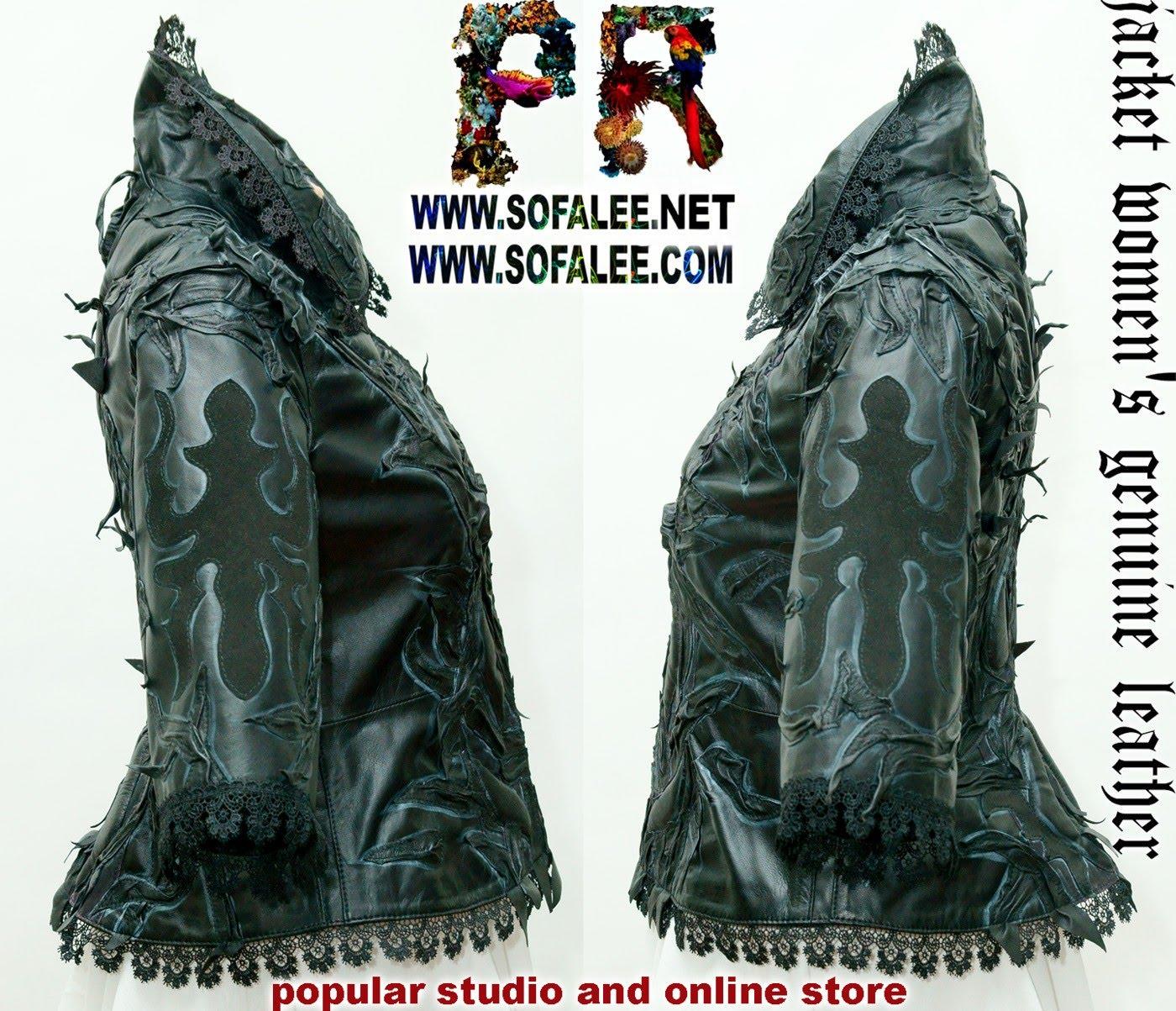 женская кожаная черная куртка 02