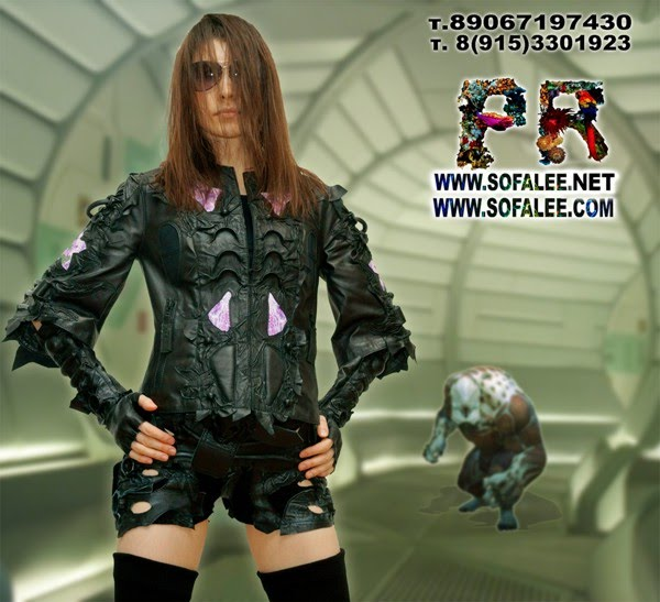 "№211 Short genuine leather jacket black purple ""Mizar-C4"""