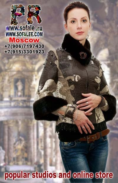 "№135 Exclusive woman jacket genuine crocodile python, printed leather, mink fur collar- ""Lux corde"""