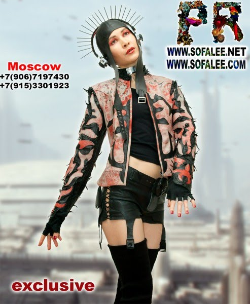 "№215 ""Punk"" genuine leather jacket for women black red."