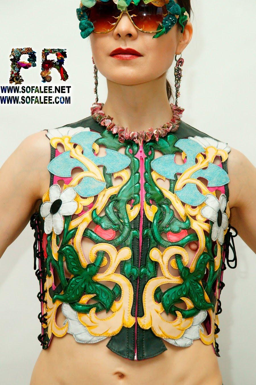 gilet pour femme en cuir reweaving véritable concepteur multicolore fait main exclusif