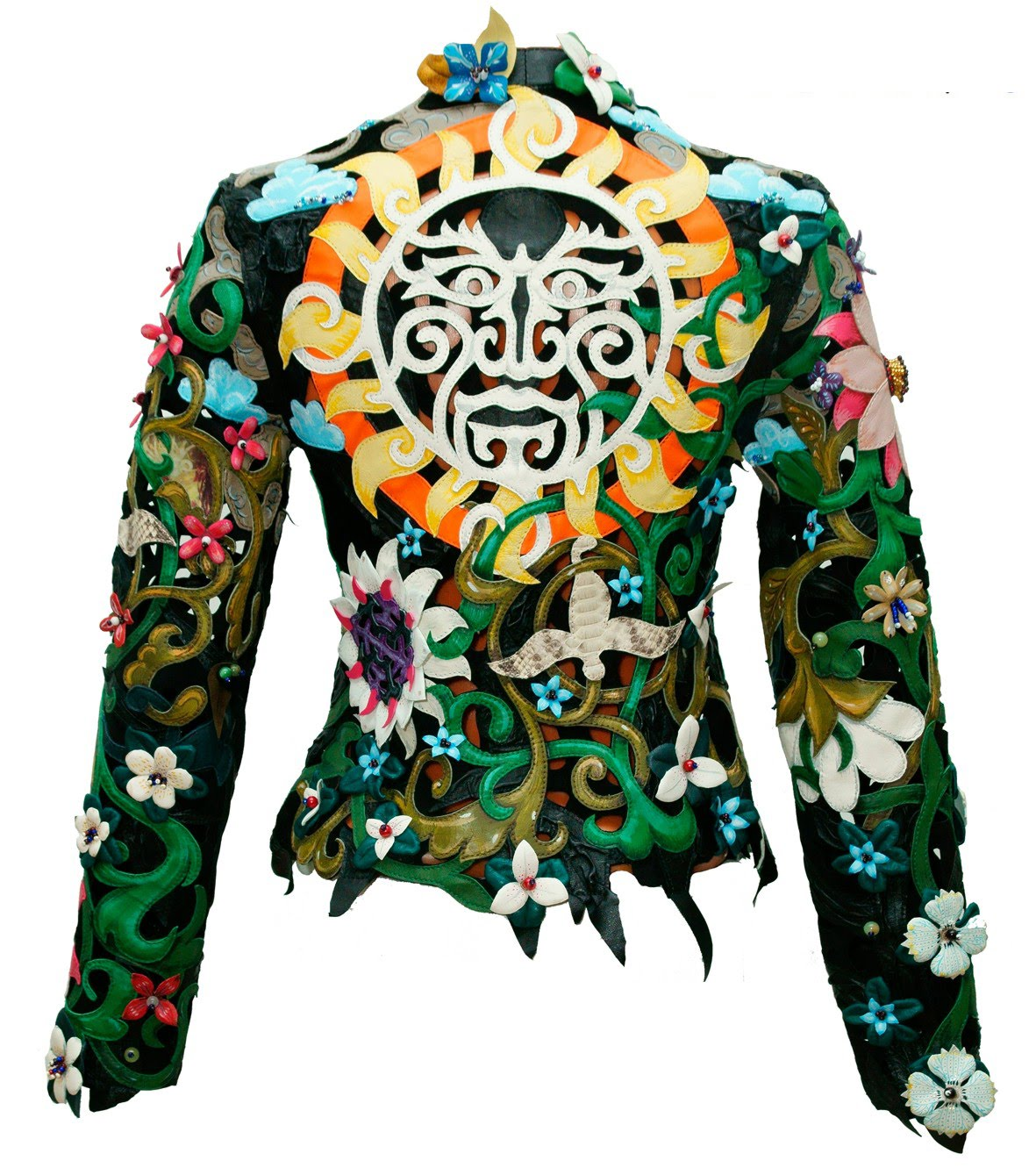bright womens genuine leather jacket floral style 001