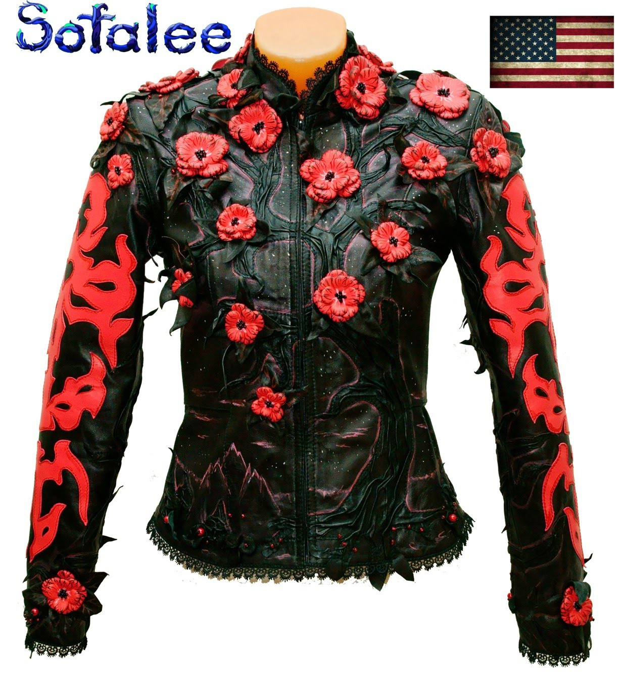 red black womens jacket of genuine lamb leather 08