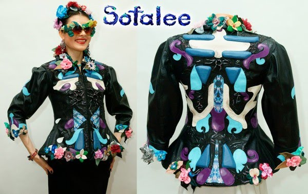 blue black leather jacket for women