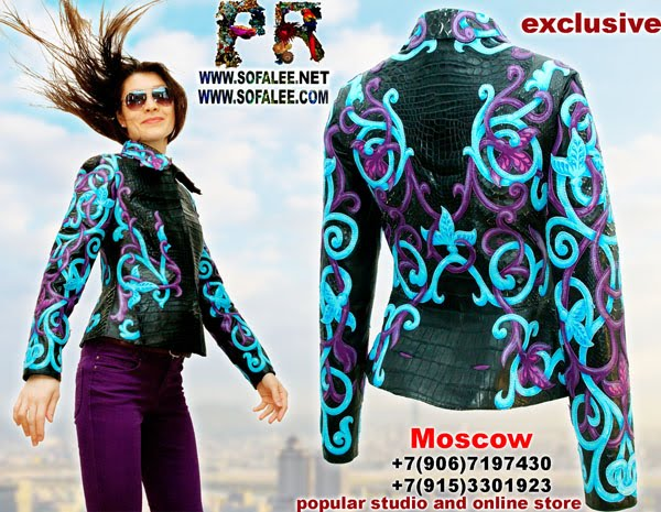 """№178 Эксклюзивная женская куртка из крокодила питона с вышивкой """"Tauretari"""""""