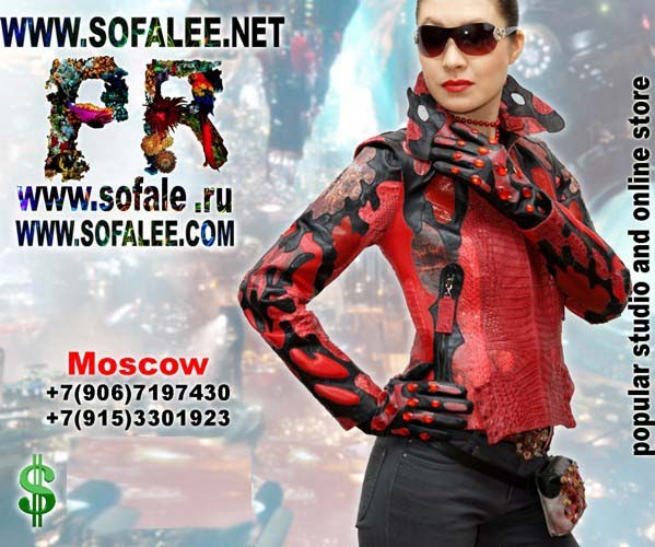 "№137 Real python stingray crocodile skin jacket red black color for women luxury- ""Altar"""