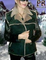 Дубленка из овчины с кожаными рукавами женская.