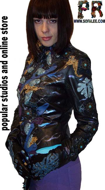 "№68Embroidered leather jacket womens ""Sivil"""