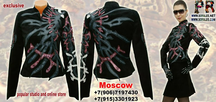 "№170 Women's black genuine leather handmade jacket- ""Prominences of time"""