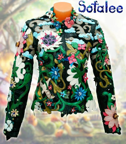 "№216 Fitted jacket for women genuine leather ""Verona"" multicolor chic 3D flowers exclusive handmade by Sofalee."