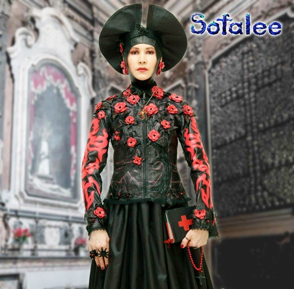 "№214 Genuine leather fitted jacket for women ""Catarina"" black red exclusive handmade embroidery tree with flowersby Sofalee."