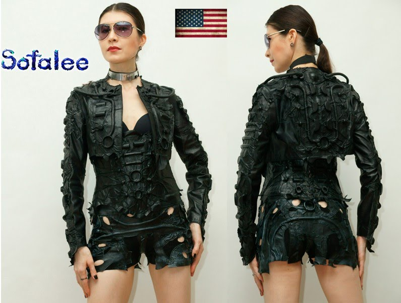 №219 Leather bolero female black with long sleeves only in genuine leather exclusive handmade by Sofalee!