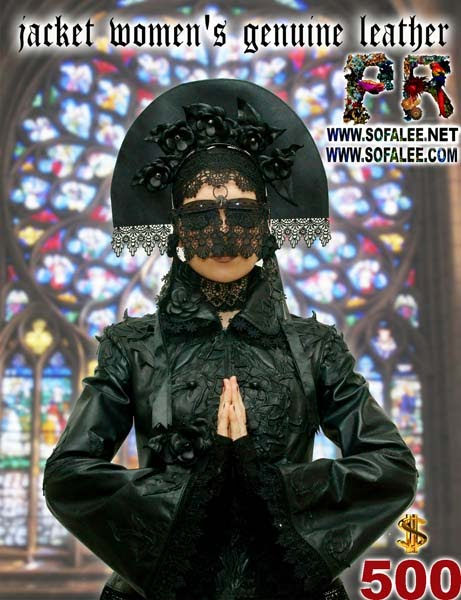 """№207 Women's genuine black leather with lace """"The Black Water"""""""