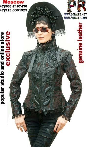 "№209 Genuine leather jacket ""Black on black"" for women."