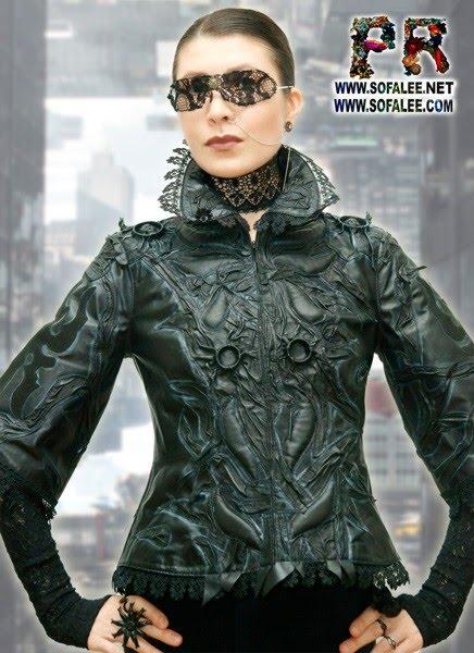 """№206 Женская готическая куртка из натуральной кожи, рукава 3/4 """"Темная материя""""."""