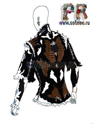 эскиз куртки из натуральной кожи крокодила 0