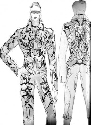 эскиз брючного костюма из натуральной кожи 0