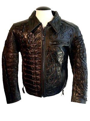мужская кожаная куртка из кожи крокодила и питона