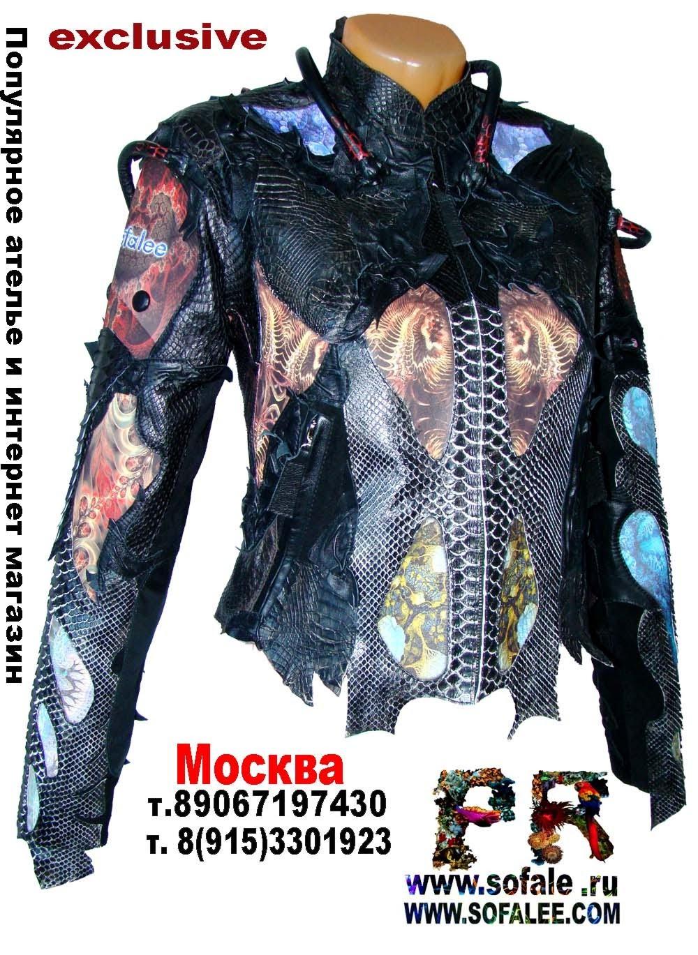 эксклюзивная кожаная куртка в стиле рок 7