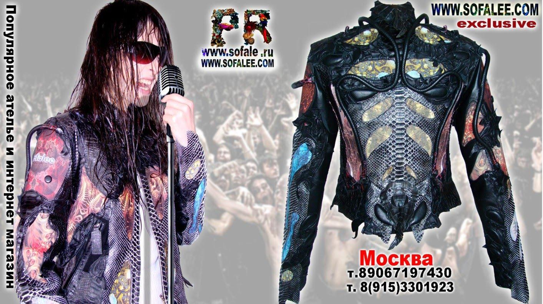 эксклюзивная кожаная куртка в стиле рок 4