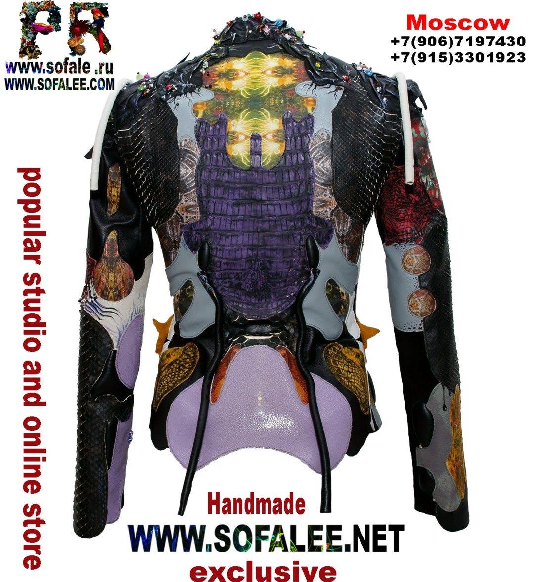 куртка из кожи крокодила и питона с вышивкой 4