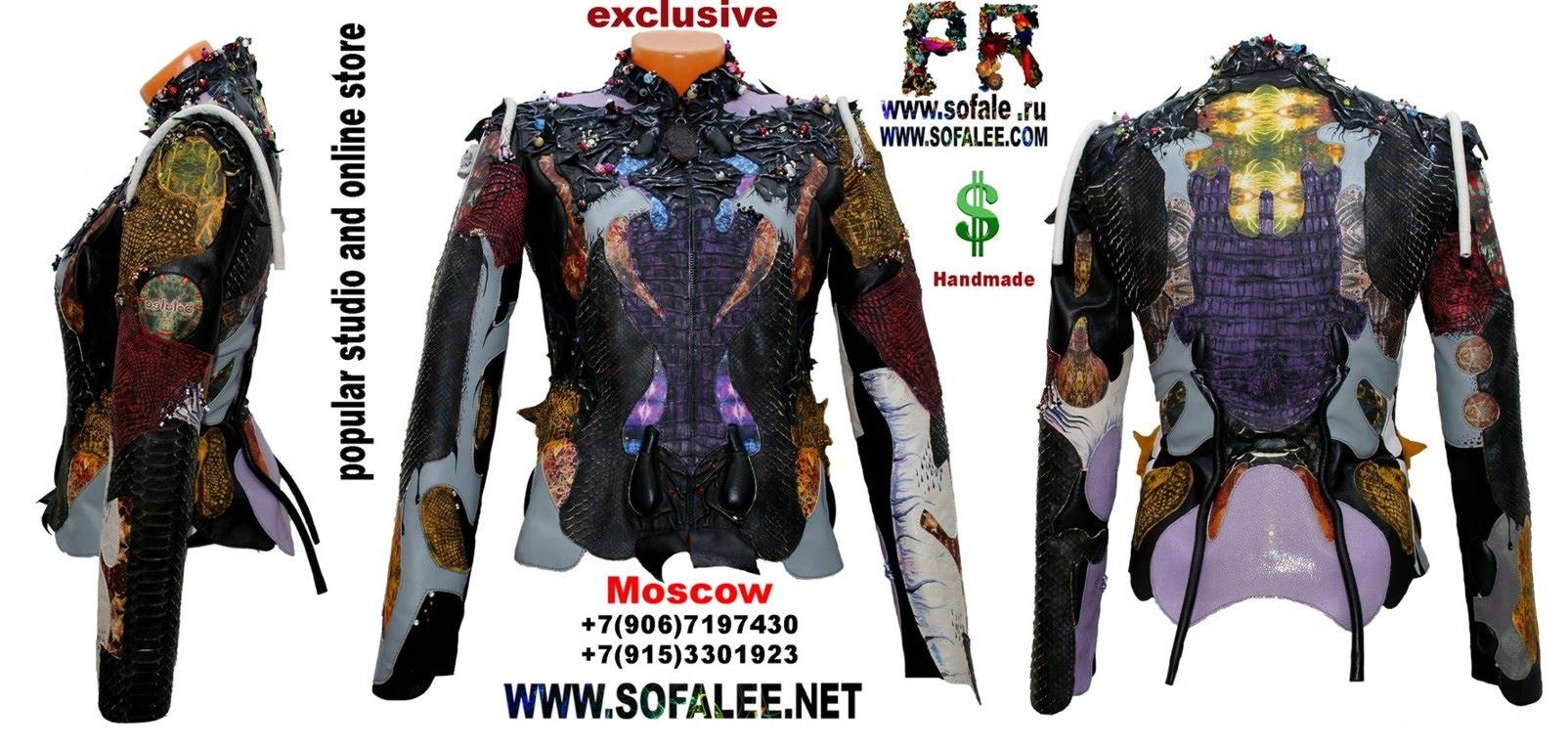 куртка из кожи крокодила и питона с вышивкой 15