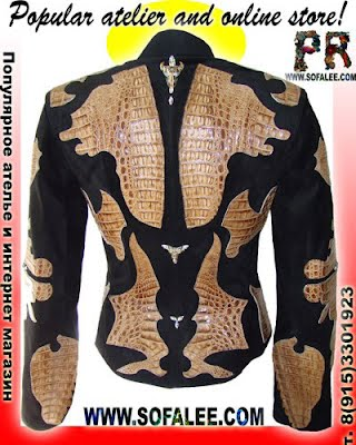 Women's clothes made of leather and suede crocodile