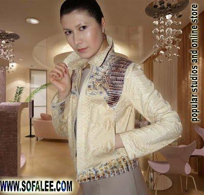 Куртка из кожи натурального питона и крокодила