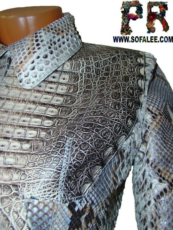 Деталь куртки из кожи питона и крокодила.