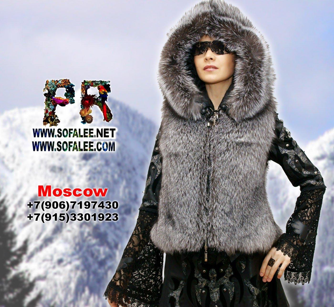 меховая жилетка из чернобурки с капюшоном 000