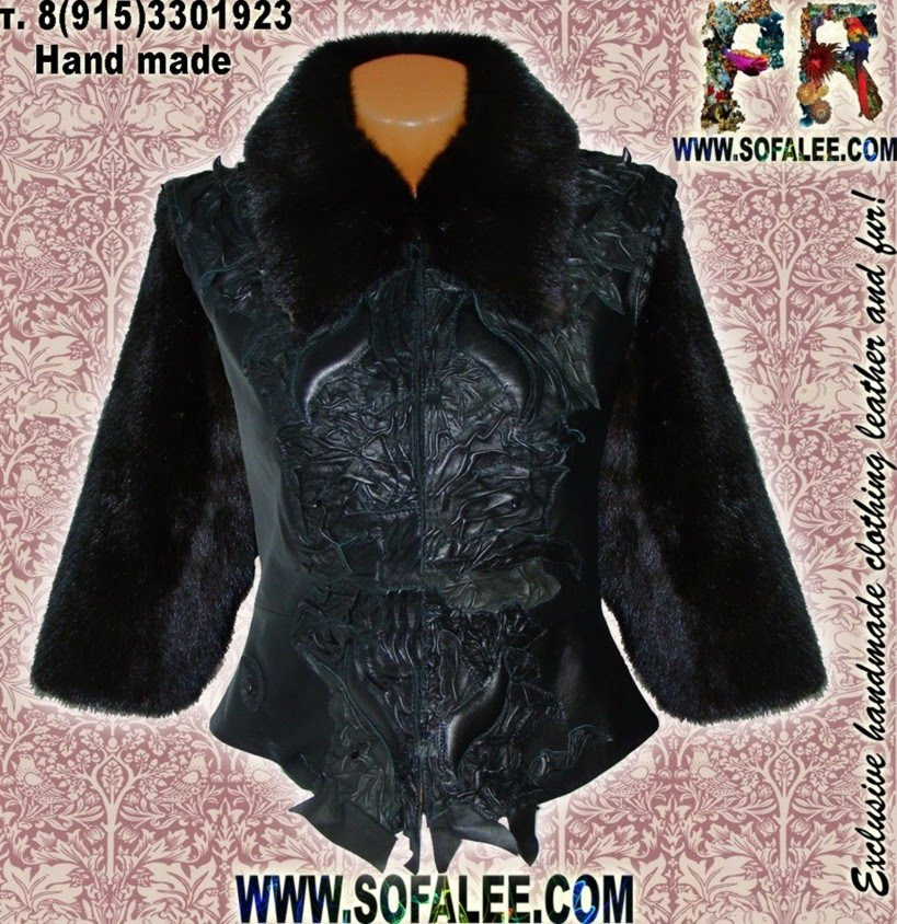 Ladies jacket from fur mink and leather