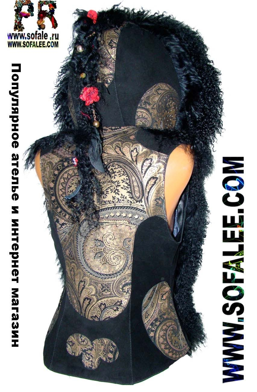 Жилетка женская с оригинальной косичкой с цветами и фурнитурой фото 3