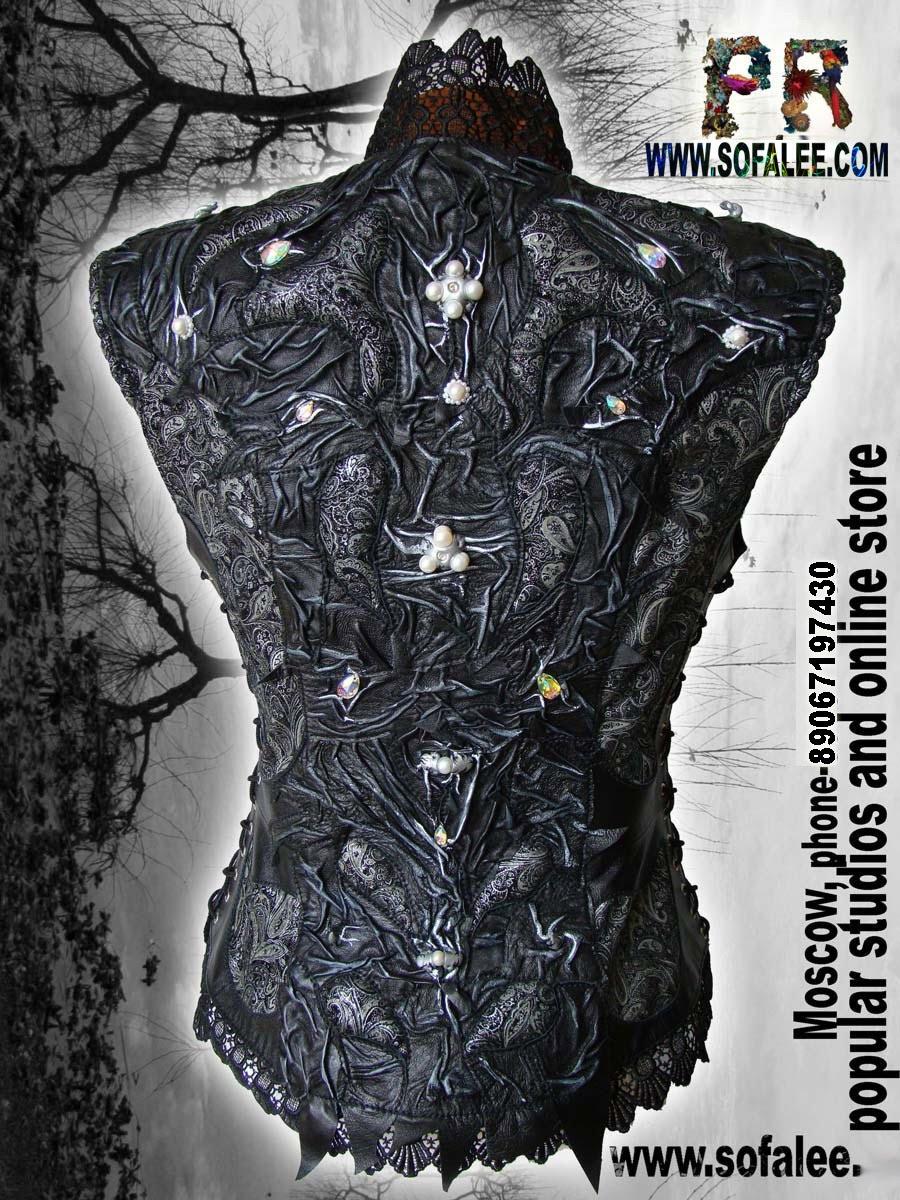 Модная молодежная жилетка из натуральной кожи.