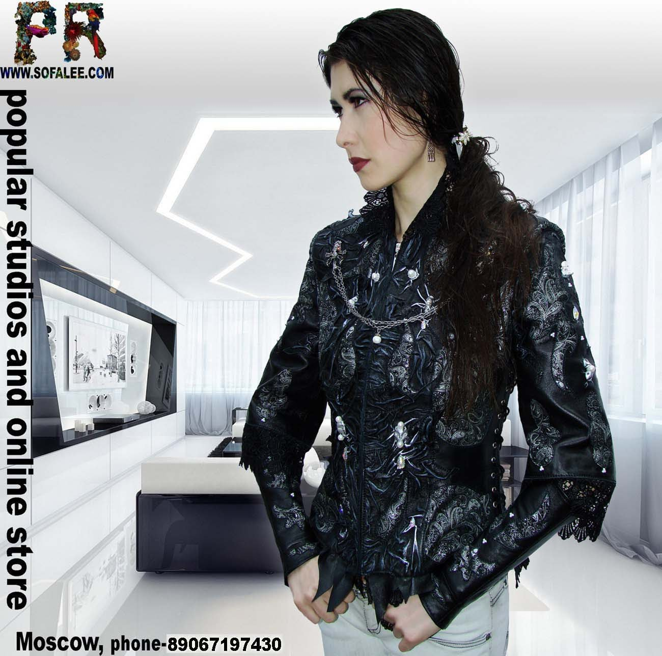 Молодежная эксклюзивная кожаная куртка в стиле Рок.