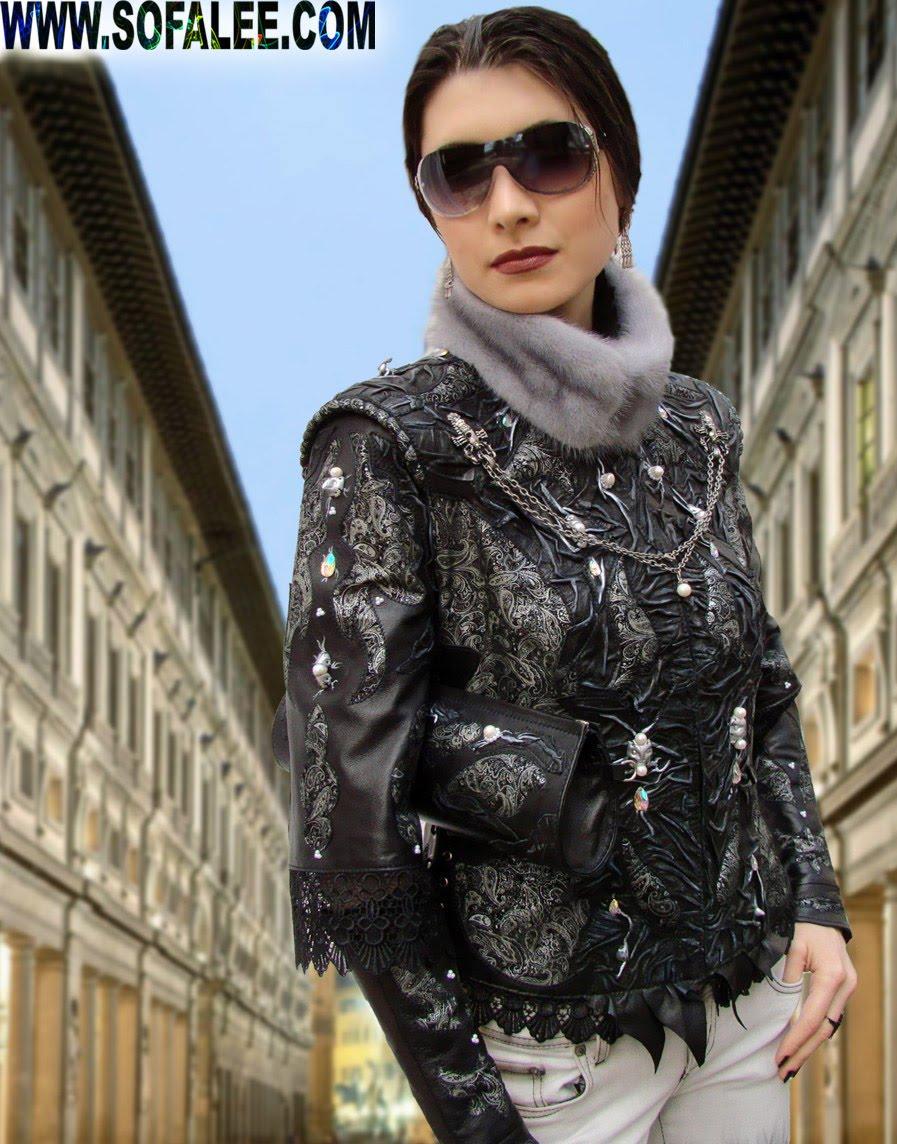 Элегантная куртка из кожи с митенками ,рукава 3/4.