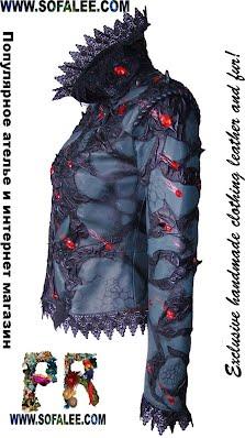 Готический стиль черной куртки из натуральной кожи для женщин