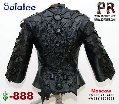 черная кожаная куртка космический стиль 01