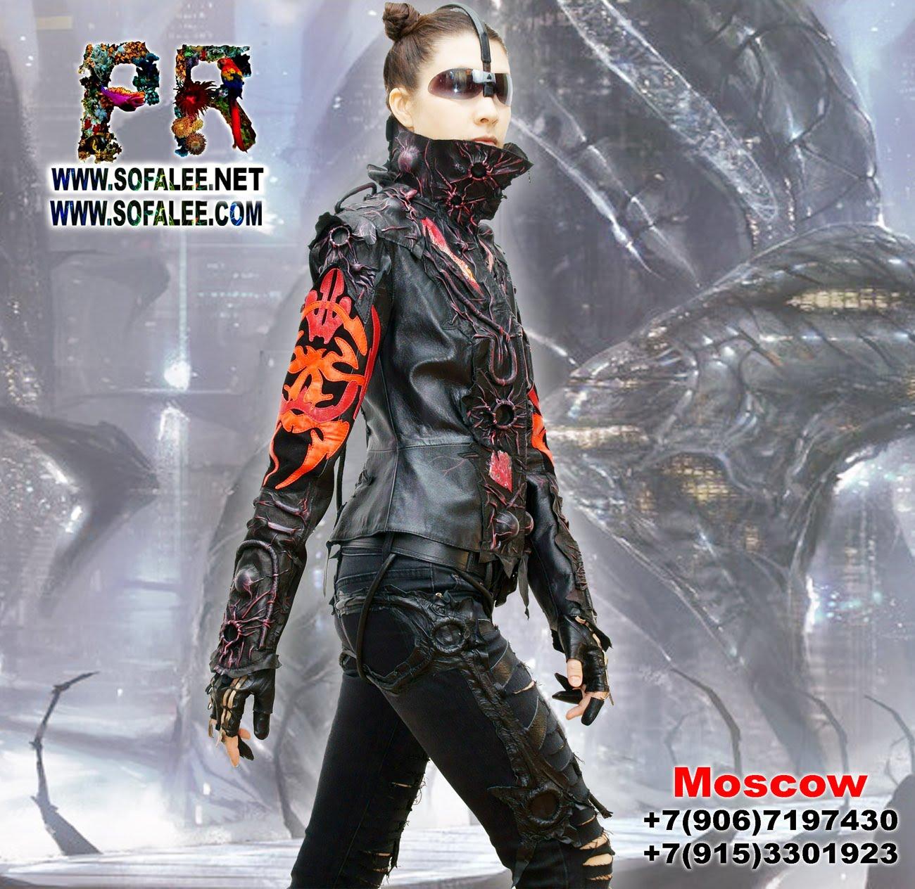 черно-красная кожаная куртка 000