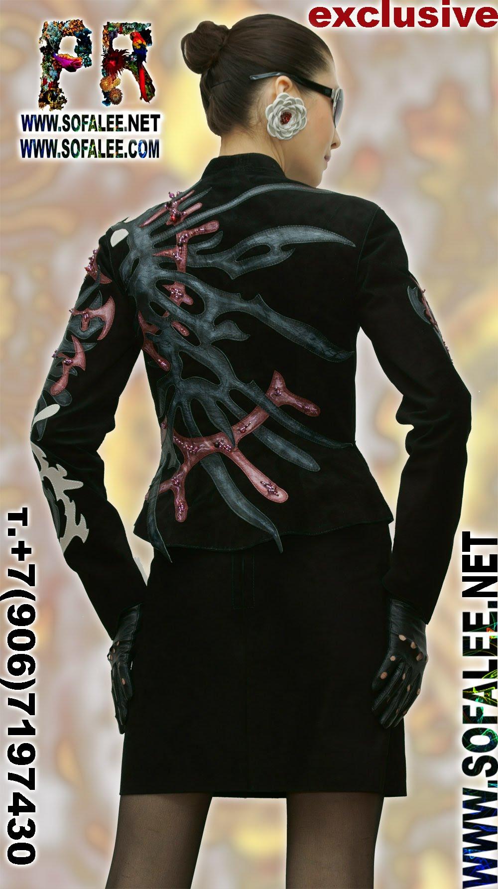 женственная дизайнерская кожаная куртка 0000